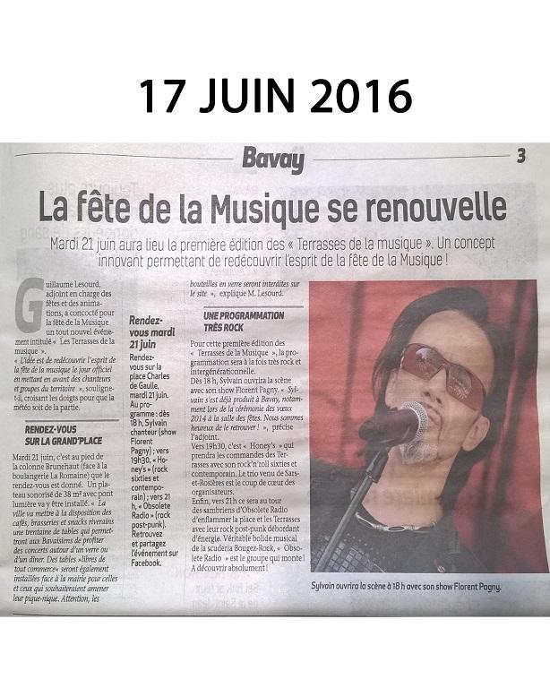 La Sambre 2016 annonce que Sylvain Chanteur participera à la fête de la musique du 21 Juin à Bavay