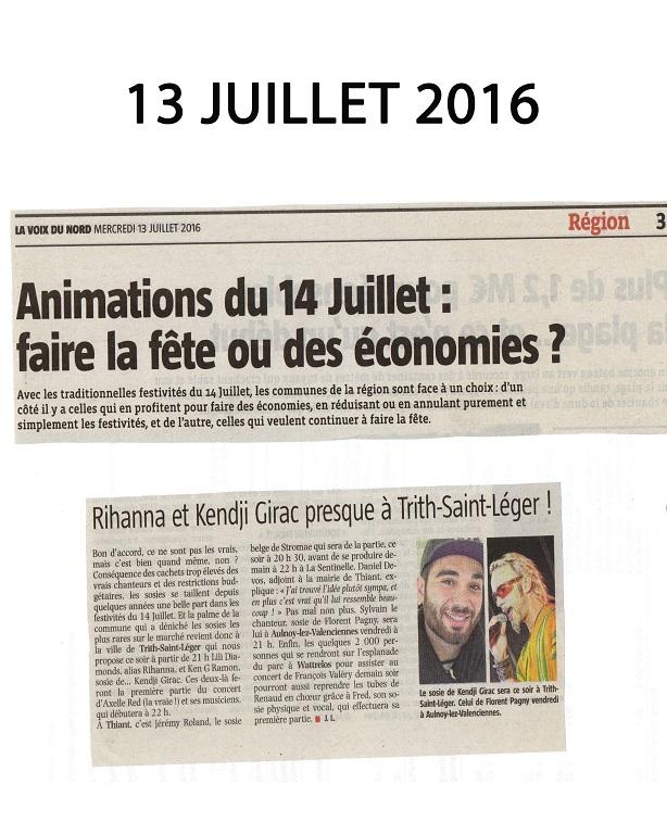 Juillet 2016 article de presse de la Voix du Nord