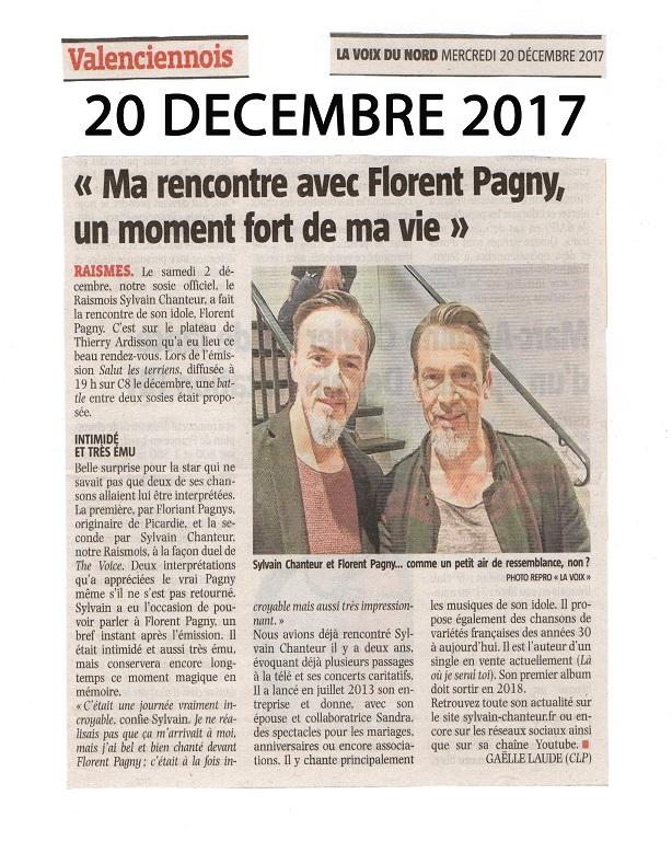 Article de la Voix du Nord sur la rencontre de Sylvain Chanteur avec Florent Pagny